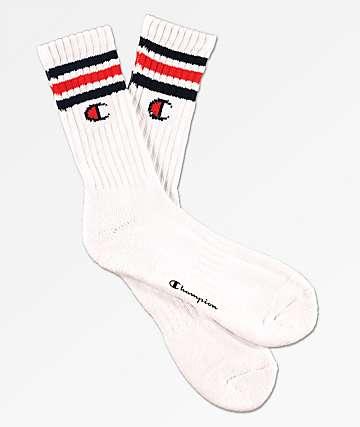 Champion Logo Stripes calcetines en blanco y azul marino