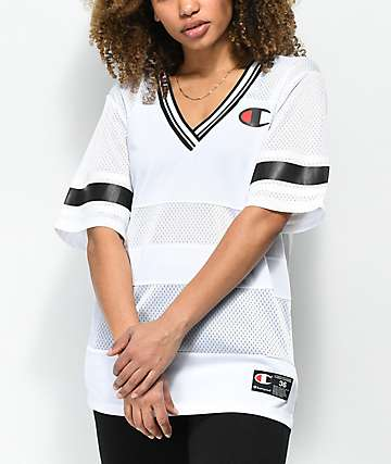 Champion Logo White Mesh V-Neck Jersey