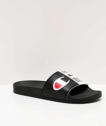 Champion Men's IPO Jock Black & White Slide Sandals