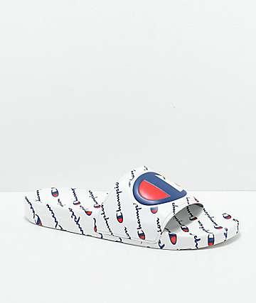Champion Men's IPO Repeat White Slide Sandals