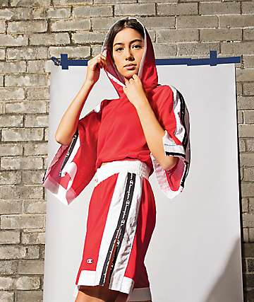 Champion Mesh Red & White Crop Hoodie