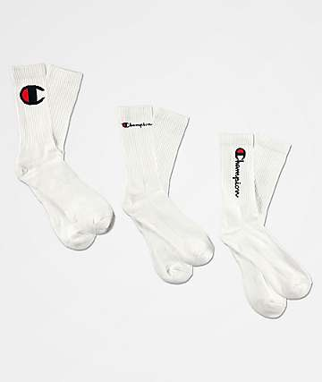 Champion Multi-Logo White 3 Pack Crew Socks