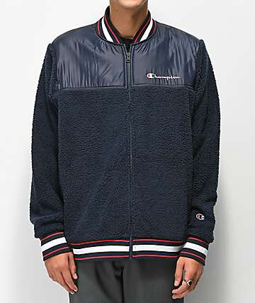 Champion Navy Sherpa Baseball Jacket