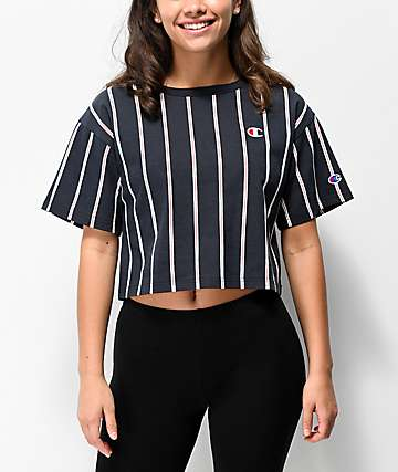 Champion Navy Stripe Crop T-Shirt