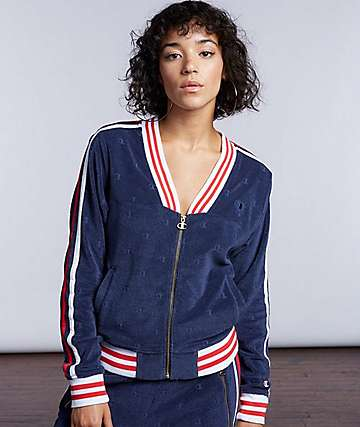 Champion Navy Terry Cloth Warm Up Jacket