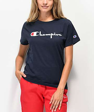 Champion OG Direct Flock Script Navy T-Shirt