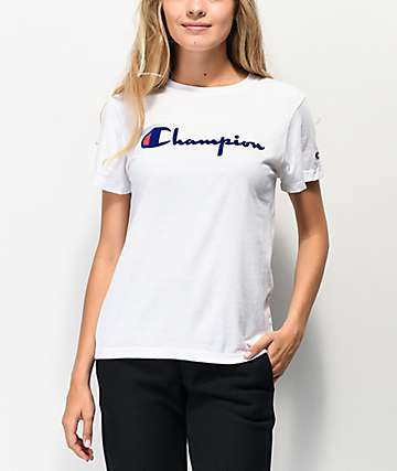 2afb54924134 Champion OG Direct Flock Script White T-Shirt