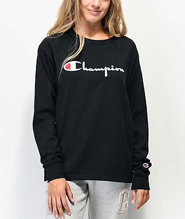 Champion OG Flock Black Long Sleeve T-Shirt