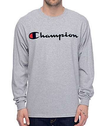 0e9e30dc Champion Patriotic Script Heather Grey Long Sleeve T-Shirt