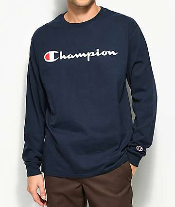 Champion Patriotic Script Navy Long Sleeve T-Shirt