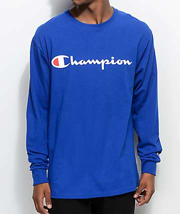 Champion Patriotic Script Surf The Web Blue Long Sleeve T-Shirt