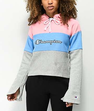 Champion Pink & Blue Reverse Weave Crop Hoodie