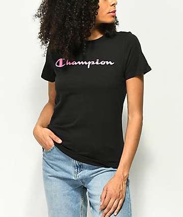 Champion Pink Script camiseta negra
