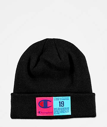 Champion Pop Color Jocktag Black Beanie