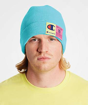 Champion Pop Color Jocktag Blue Beanie