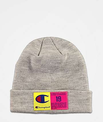 Champion Pop Color Jocktag Grey Beanie