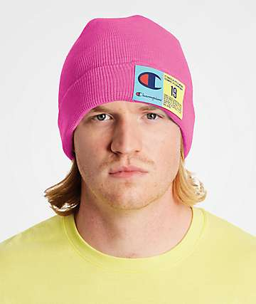 Champion Pop Color Jocktag Pink Beanie