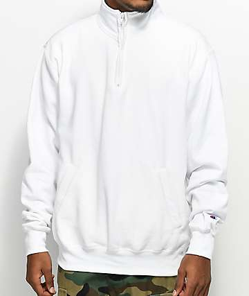 Champion Powerblend Quarter Zip White Fleece Sweatshirt