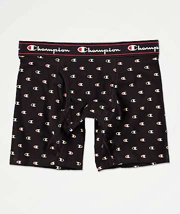 Champion Printed C Logo Black Boxer Briefs