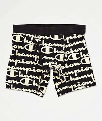 Champion Printed C Script Ebony Boxer Briefs