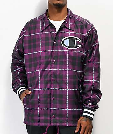 Champion Purple Plaid Printed Coaches Jacket