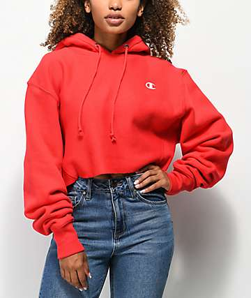 Champion Reverse Wave Red Crop Hoodie