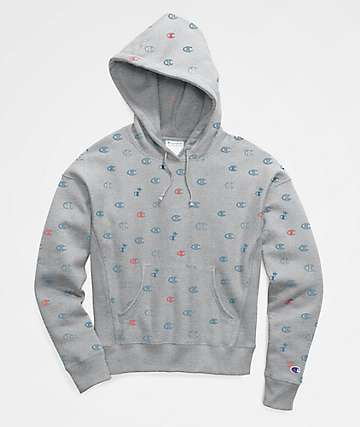 Champion Reverse Weave All Over C Print Grey Hoodie
