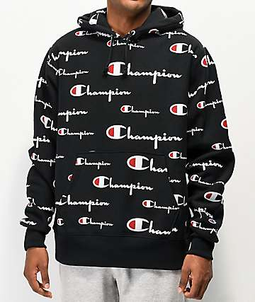 Champion Reverse Weave All Over Print Black Hoodie