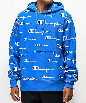 Champion Reverse Weave All Over Print Blue Hoodie