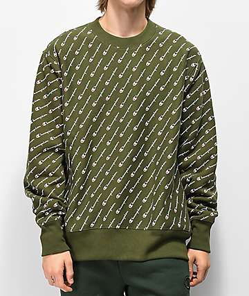 104d1ea4b643 Champion Reverse Weave All Over Print Green Crew Neck Sweatshirt