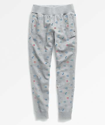 Champion Reverse Weave All Over Print Grey Jogger Sweatpants
