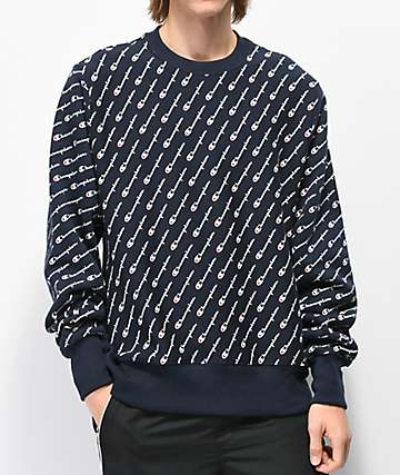 Champion Reverse Weave All Over Print Navy Crew Neck Sweatshirt