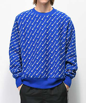 Champion Reverse Weave All Over Print sudadera azul con cuello redondo