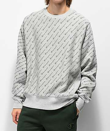 Champion Reverse Weave All Over Print sudadera gris con cuello redondo