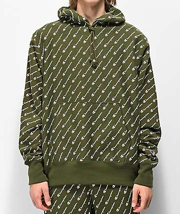 Champion Reverse Weave All Over Print sudadera verde