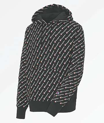 Champion Reverse Weave All Over Script Black Hoodie