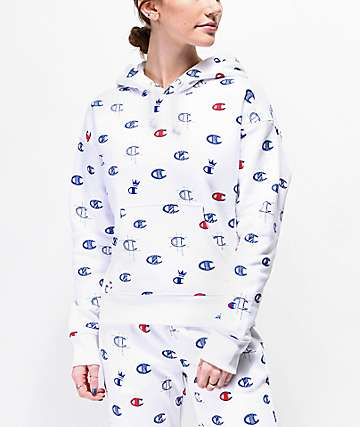 Champion Reverse Weave Allover C White Hoodie