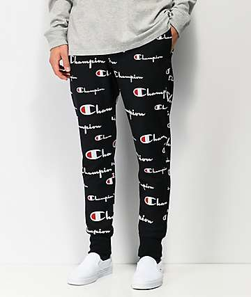 Champion Reverse Weave Allover Script Black Jogger Sweatpants