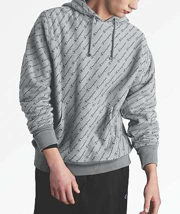 Champion Reverse Weave Allover Script Oxford Grey Hoodie
