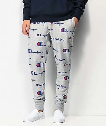 Champion Reverse Weave Allover Script Oxford Grey Jogger Sweatpants