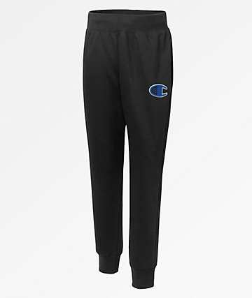 Champion Reverse Weave Big C Chenille Logo Black Jogger Sweatpants