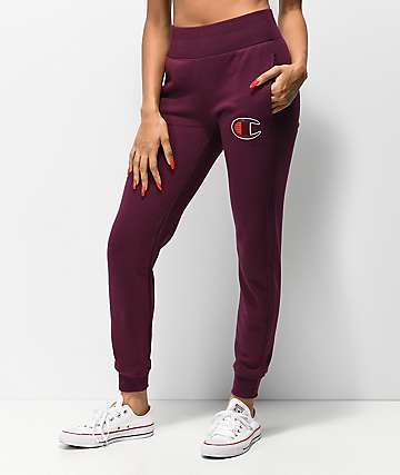 Champion Reverse Weave Big C Dark Berry Jogger Sweatpants