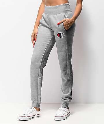 Champion Reverse Weave Big C Grey Jogger Sweatpants