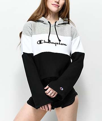 Champion Reverse Weave Black, White & Grey Crop Hoodie
