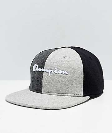 Champion Reverse Weave Black & Grey Colorblock Strapback Hat