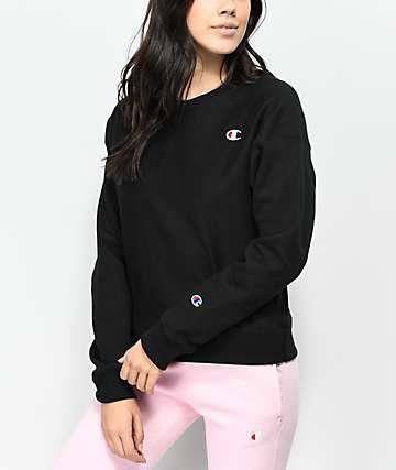 Champion Reverse Weave Black Crew Neck Sweatshirt
