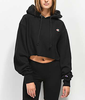 Champion Reverse Weave Black Crop Hoodie