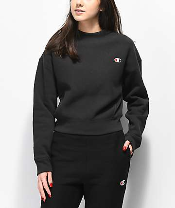 Champion Reverse Weave Black Mock Neck Crop Sweatshirt