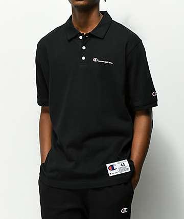 Champion Reverse Weave Black Polo