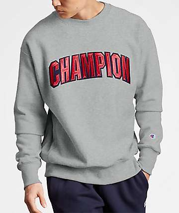 Champion Reverse Weave Block Logo Oxford Grey Crew Neck Sweatshirt
